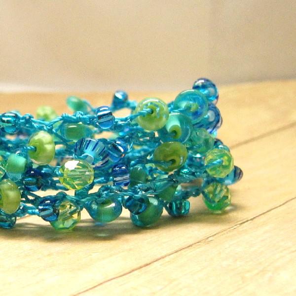 Boho Wrap Bracelet, Summer Jewelry, Aqua, Green and Blue Beaded Crochet Bracelet, Bohemian Fashion, Accessory, Handmade Fiber Beadwork