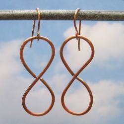 Earrings, Oxidized Copper Figure Eight, 8, Metal Jewelry, Metalwork Number Accessory, Casual, Dangle