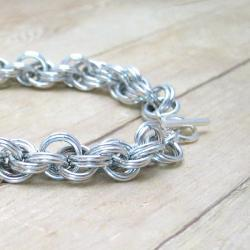 Chain Mail Bracelet, Double Spiral, Aluminum Chain Maille, Casual Jewelry, Silver Accessory