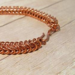 Chain Mail Bracelet, Copper Box Chain Unisex Chain Maille Bracelet, Handmade Metal Jewelry, Men's, Women's Fashion Accessory