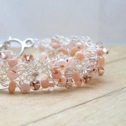 Wire Crochet Peach Bracelet, Silver Plated Wire, Glass Seed Beads, Handmade Crochet Pastel Jewelry, Women's Fashion Accessory