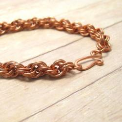 Double Spiral Chain Mail Bracelet, Copper Chain Maille Jewelry