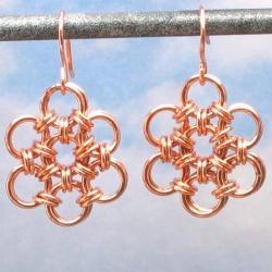 Copper Earrings, Japanese Flower Chain Mail Earrings, Women's Chain Maille Jewelry